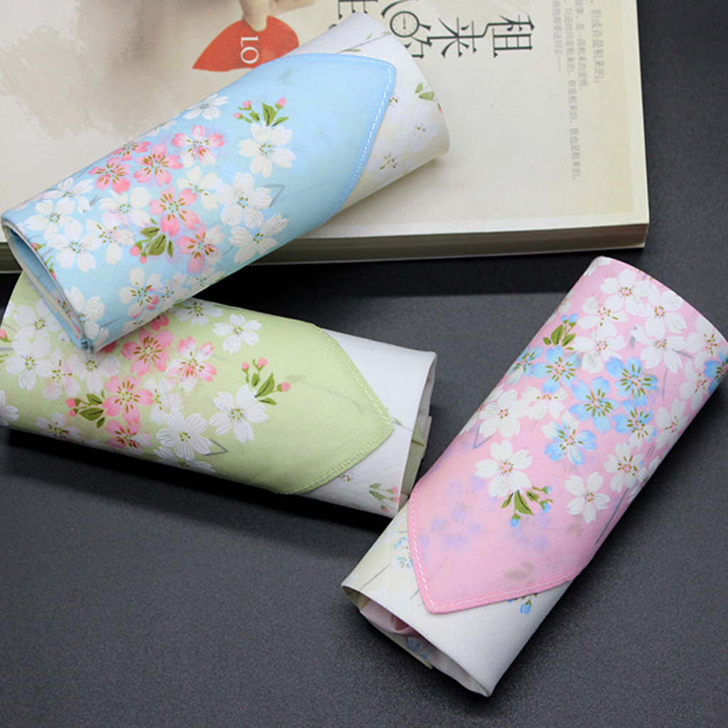 2pcs Ladies Womens Cotton Handkerchief Flower Pattern Floral Printed Hankies Wedding Bridal Floral Embroidered Hankies Hanky