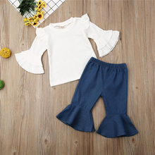 Newborn Baby Girls Outfits Sets White Trumpet Sleeve Top+Flared Trousers Pants layered trumpet sleeve botanical top