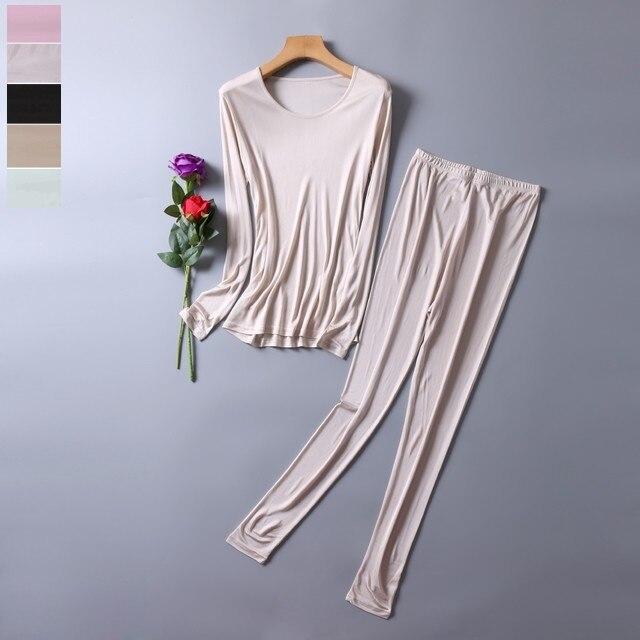 50% Silk 50% Viscose Women's Base Layer Warm Thermal Underwear Long Johns Set M L XL SG380