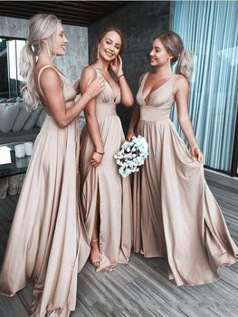 Sexy Champagne Bridesmaid Dresses Deep V Neck Empire Side Split Beach Boho Maid of Honor Gowns Wedding Guest Dresses plus size royal blue bridemaid dresses sheer o neck lace applique high side split wedding guest dress maid of honor gowns