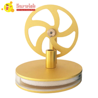 Aluminium Alloy Flywheel Low Temperature Difference Stirling Engine Model Toy With Metal Base Golden Flywheel