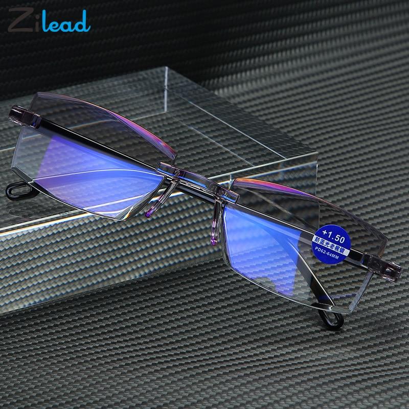 Zilead Reading Glasses Men Anti Blue Rays Presbyopia Eyeglasses Antifatigue Computer Frameless With +1.5+2.0 +2.5 +3.0 +3.5 +4.0