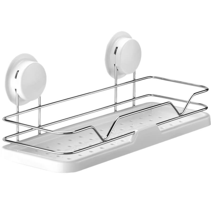 ABUI-New Dual Strong Suction Cup Bathroom Shelf Kitchen Storage Wall Mounted Holder Bathroom Wall Rack Shower Lotion Organizer S