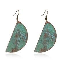 Copper patina half circle big drop earring