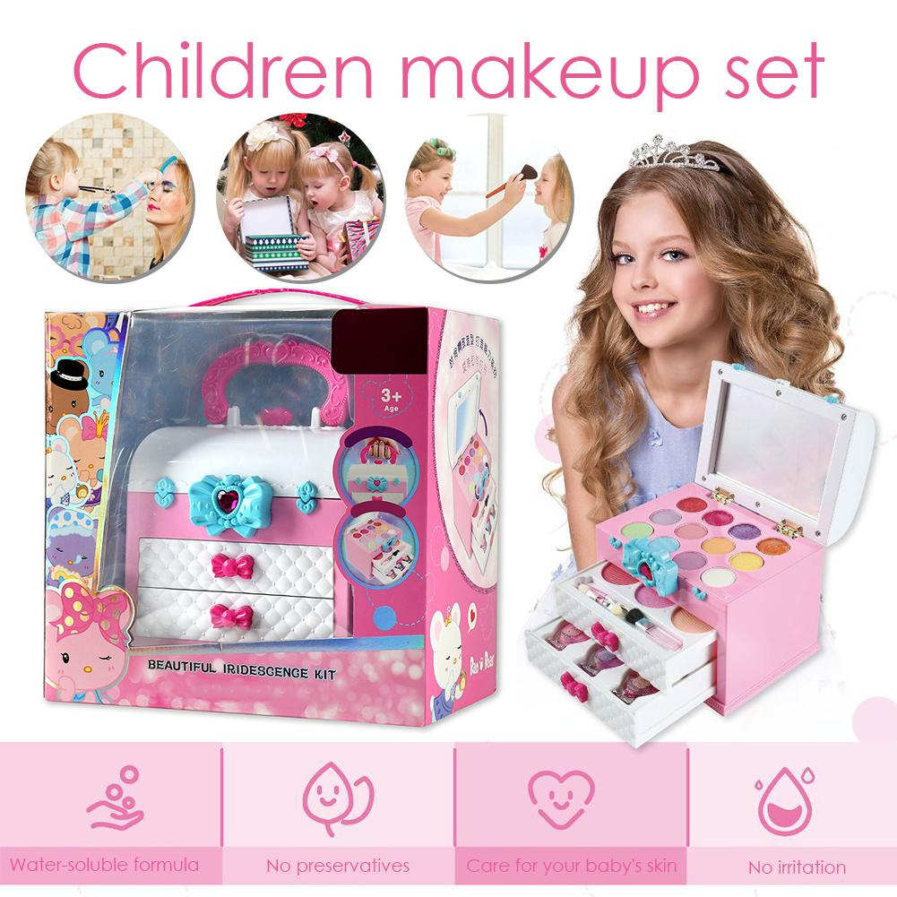 Kids Makeup Toy Girl Pretend Play Safety Non-toxic Makeup Set Cosmetic Kit Toy With Portable Box For Children Beauty Toy