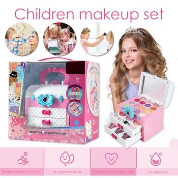 Maquillaje para niños, conjunto de maquillaje no tóxico de seguridad para niñas, juego de maquillaje con caja portátil, juguete de belleza para niños