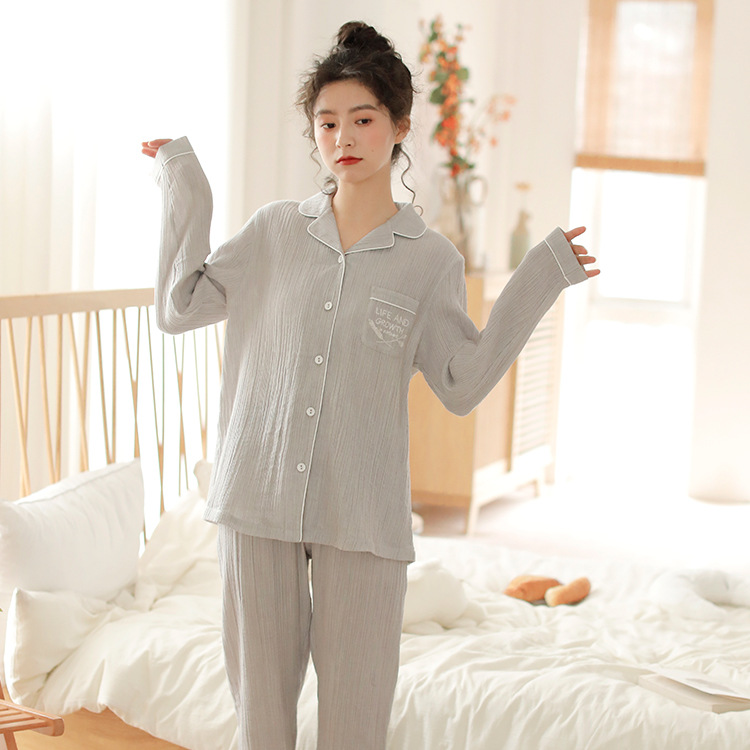 Meju New Products Women's Long-sleeve Suit Pajamas 100% Cotton Gauze Tatting Thin Home Wear