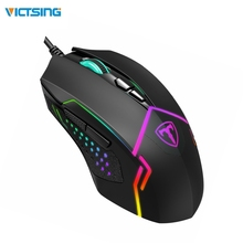 лучшая цена VicTsing Wired RGB Gaming Mouse 7 Programmable Buttons 7200 DPI Adjustable Optical Gaming Mouse Ergonomic USB Computer Mice