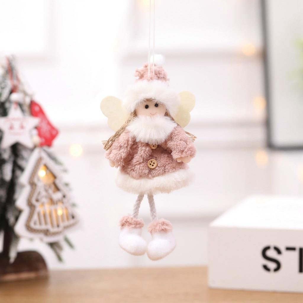 8 pièces décorations de noël créatif joyeux arbre de noël ornements en peluche père noël poupées décoration bonhomme de neige ornements artisanat - 2