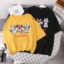 2021Disney Minnie Maus Freunde Print T Shirt Sommer Frauen Kurzarm Freizeit Top T-stck Beilufige Damen Weibliche T shirts