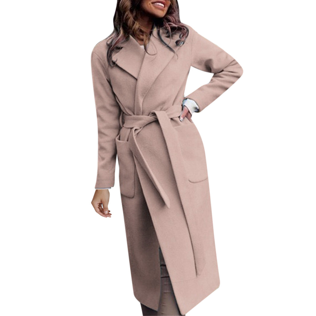 SAGACE New Autumn Women Long Trench Coats Leather Coat 2019 New Stylish Womens Windbreaker Coats Winter Outerwear