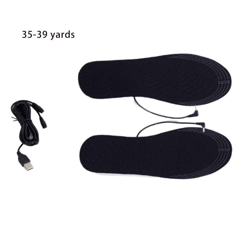 1 Pair Men Women Unisex Winter USB Electric Powered DIY Cut Heating Warm Foot Insoles Thermal Heater Shoes Pads Washable