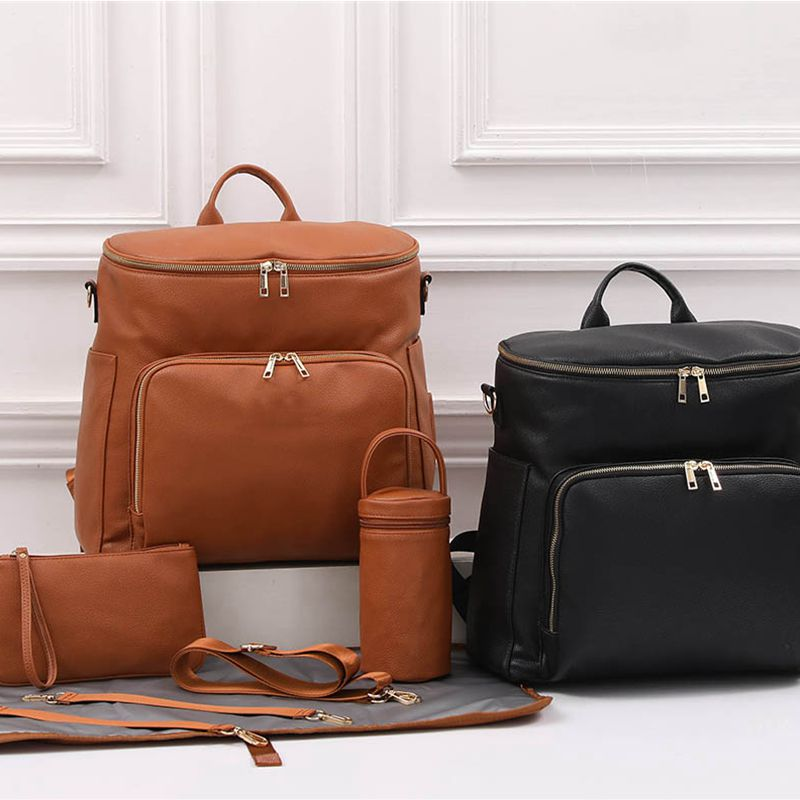 PU Leather Baby Nappy Diaper Bag Backpack+Changing Pad+Stroller Straps+Insulation bag+Cosmetic bag