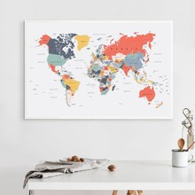 World Map Poster Print Happy Colors Wall Art Canvas Painting Coral Blue Yellow Teal Pink Wall Picture for Living Room Home Decor