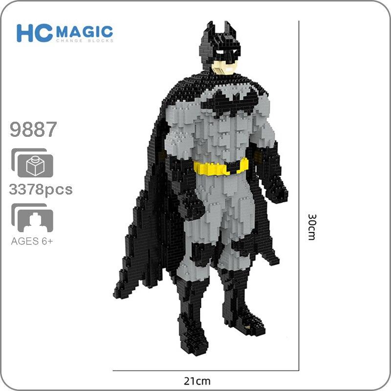HC 9887 Super Hero Batman Dark Knight 3D Model 3378pcs DIY Diamond Mini Building Small Blocks Bricks Toy For Children No Box