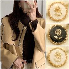 6pcs Rose Gold Metal White Black Flower Buttons for Needlework Clothing Women Dress Coat Suit Cardigan Sewing Button Designer
