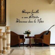 Autocollants de citations murales françaises, papier peint décoratif en vinyle, Chaque Famille Une Histoire, décoration de salon