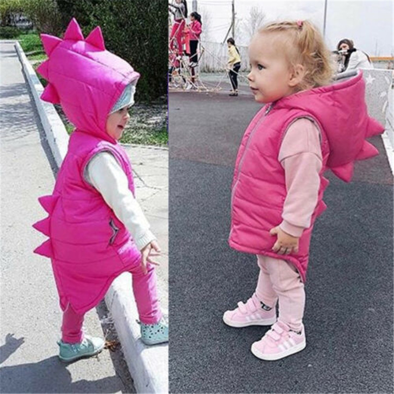 2019 Fashionable Baby Girl Clothes Warm Dinosaur Hooded Coat Kid Jacket Outerwear Zipper Autumn Winter Waistcoat