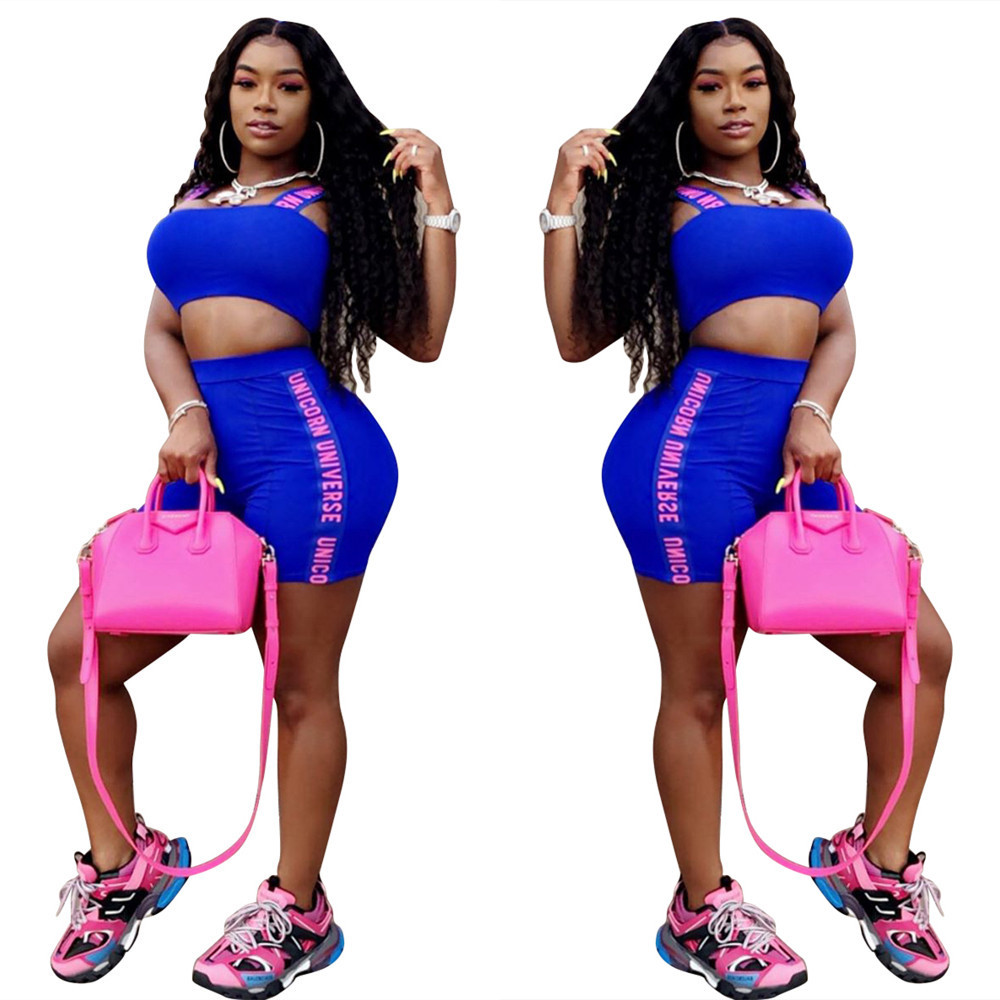 LS6285 Cross Border For Amazon AliExpress Europe And America Hot Selling-English Webbing Slim Fit Camisole Two-Piece Set
