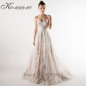 Image 5 - Lace Appliques Tulle A Line Wedding Dress Vestidos De Novia 2019 Elegant Strapless Robe De Mariée A Line Bridal Gown