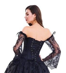 Image 5 - מכתף מחוך סט Steampunk תלבושות ויקטוריאני Overbust אסף חזה סקסי מותניים מאמן steampunk גותי הלבשה תחתונה bustier