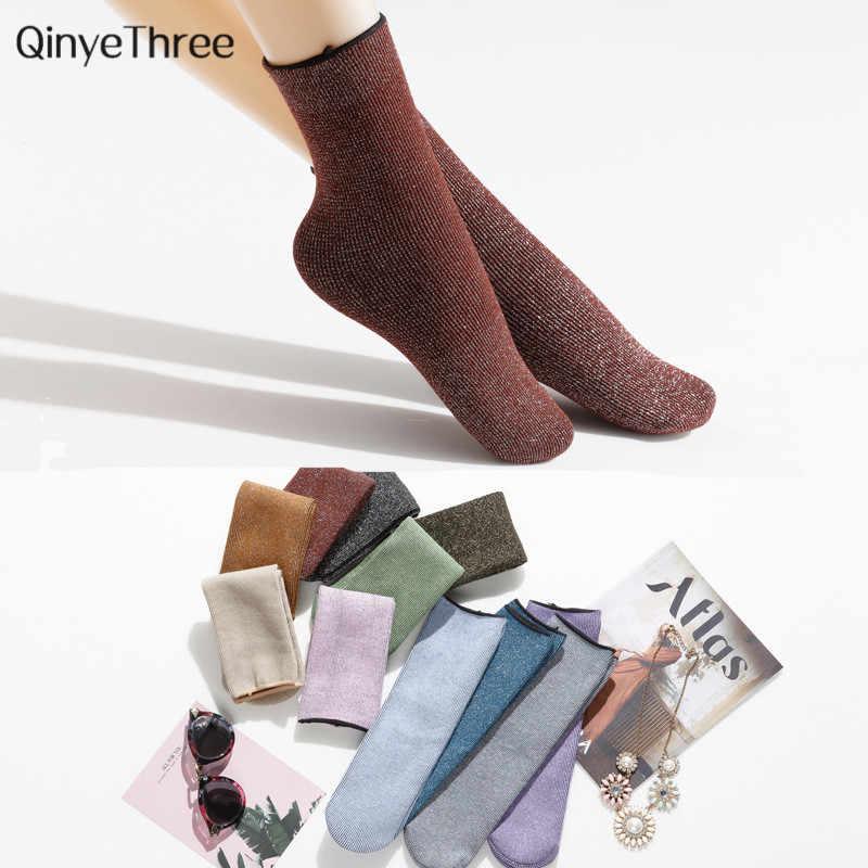 Kobiety ciepłe zimowe glitter prezenty świąteczne skarpetki pogrubienie domu skarpety śniegu unisex złoty srebrny jedwab sokken 34-42