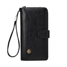 Hot Sale Men's Long Leather Wallet Fashion Retro Large Capacity Multi Card Holder Mobile Phone Bag