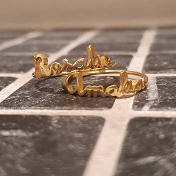 Custom Double Name Letters Ring Custom Nameplate Rings Baby Names Couples Names Ring Mother Daughter Rings Family Ring
