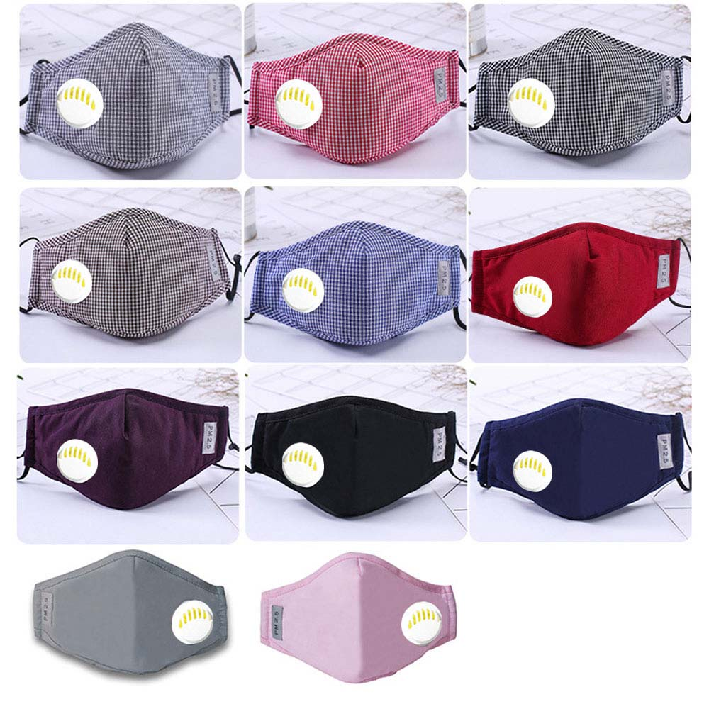 Fashion Unisex Respirator Mask With Breathing Valve Washable Cotton Activated Carbon Filter PM2.5 Mouth Masks Anti Dust Allergy