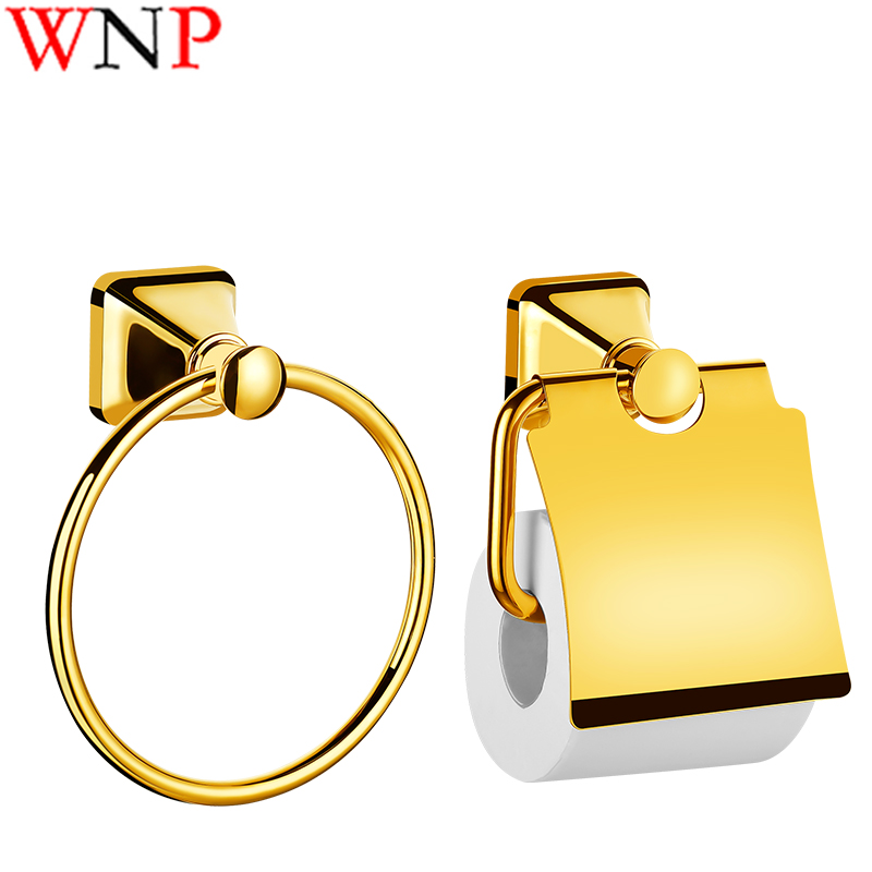 1PC WNP Titanium Plated Bathroom Hardware Gold European Style Towel Ring And Toilet Paper Holder Bathroom Accessories