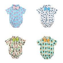 2020 Newborn Baby Bodysuit Children Clothing Fashion Boy Clothes Cartoon Print B