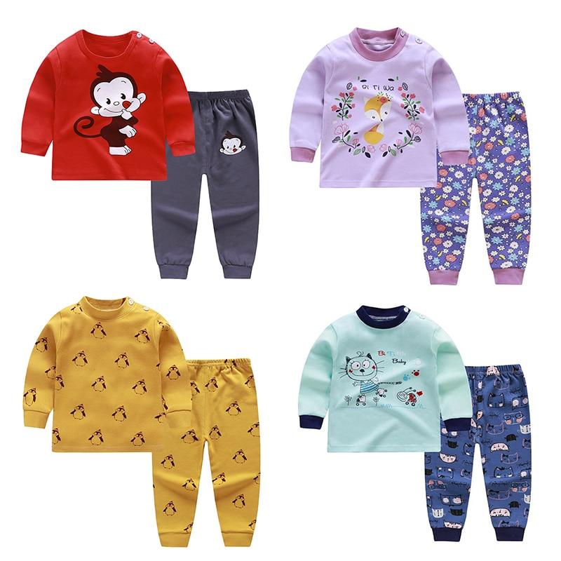 Unisex 2Pcs/set 6M-4T Cotton Underwear Set Pants Boy Babies Home Pajamas Winter Baby Clothing Thanksgiving Baby Girl Baby's Sets