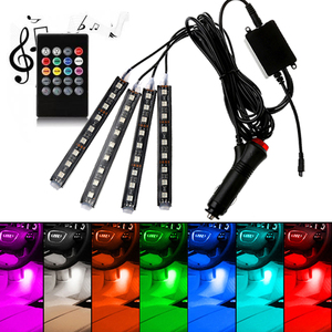 Car Interior Atmosphere LED RGB Strip Light Dash Floor Foot RGB LED Strip Decorative Light Music sound Control Multiple lighting(China)
