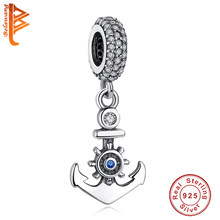 BELAWANG 925 Prata Esterlina Encantos Talão Ocean Blue Sea Anchor Sorte Eye CZ Bead Fit Pandora Original Charm Bracelet DIY jóias(China)