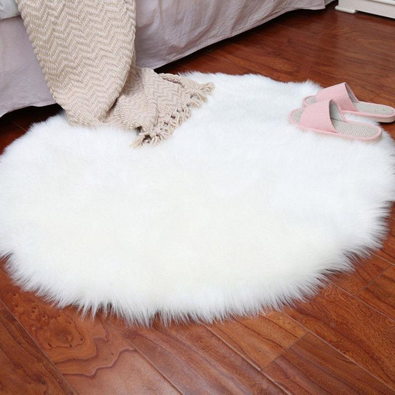 NHBR-faux Sheepskin Wool Carpet 30 X 30 Cm Fluffy Soft Longhair Decorative Carpet Cushion Chair Sofa Mat Round White
