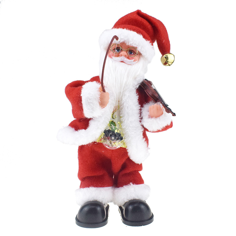 Creative Novelty Belly Light Included Pull Violin Sway Santa Claus Doll With Music Electric Toys Gift