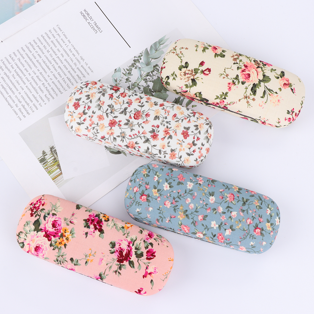 Protable Floral Hard Eye Glasses Case Eyewear Protector Box Pouch Bag Reading Glasses Sunglasses Box 8 Colors