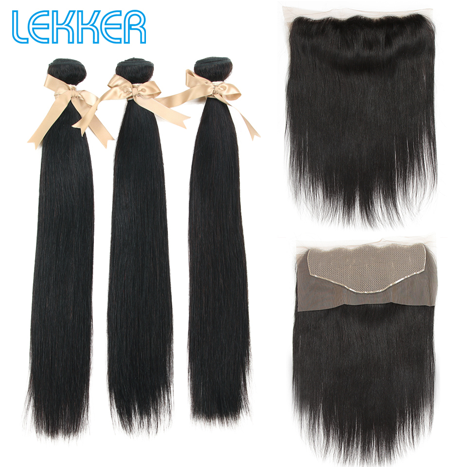 Lekker Straight Hair Bundles With 13*6 Lace Frontal 100% Human Hair 3 Bundles With Lace Frontal