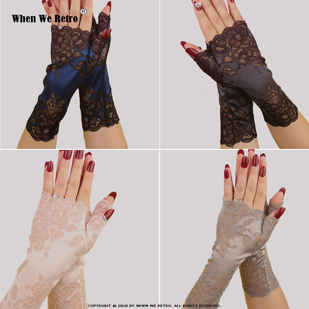 When We Retro Spring Summer Long Gloves Women Party Half Finger Black Lace Fingerless Long Gloves Sexy Arm Sleeve Arm QY0533
