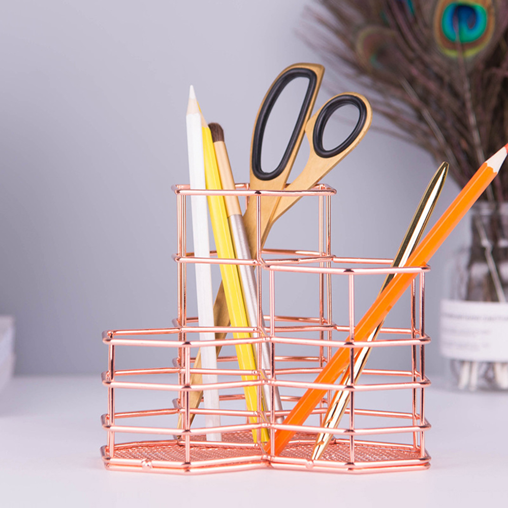 Nordic Rose Gold Metal Pen Holder Pencil Stand Desktop Storage Case Box Desk Office Organizer Accessories Stationery Set Gifts