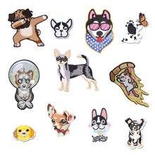 Собака Тигр заплатки в виде животных для одежды Утюг вышитые швейная аппликация милый на эмблема на ткани DIY одежда аксессуары украшения