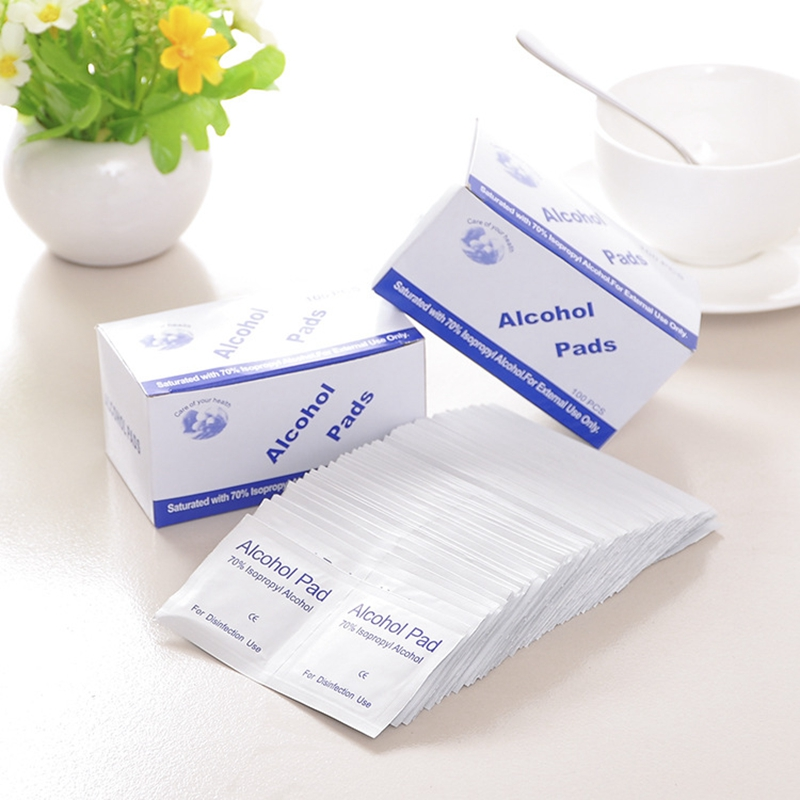 100pcs Disposable Alcohol Cotton Disinfection Pad Wet Paper For Virus Prevention Tableware Wound Sterilization Disinfect Wipe