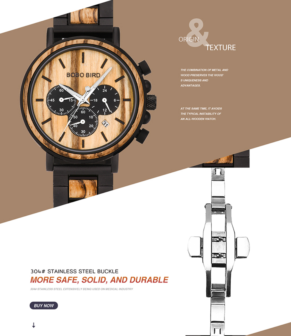 H12da9aec4b264790ba8c1224097c09bcR BOBO BIRD Wooden Watch Men erkek kol saati Luxury Stylish Wood Timepieces Chronograph Military Quartz Watches in Wood Gift Box