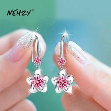NEHZY dell'argento sterlina 925 delle nuove donne di modo dei monili di colore rosa blu bianco di cristallo di zircon lungo nappa del fiore del gancio tipo di orecchini