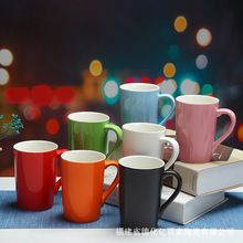 color ceramic cups, coffee cups for home, office, cafe, drinking cups with lids and spoons, round cups, gift cup, large capacity