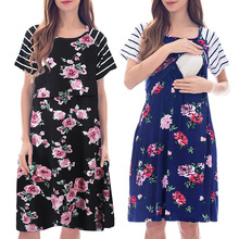 summer Breastfeeding dress short sleeve pregnant women print striped breastfeeding pajamas skirt maternity Clothes