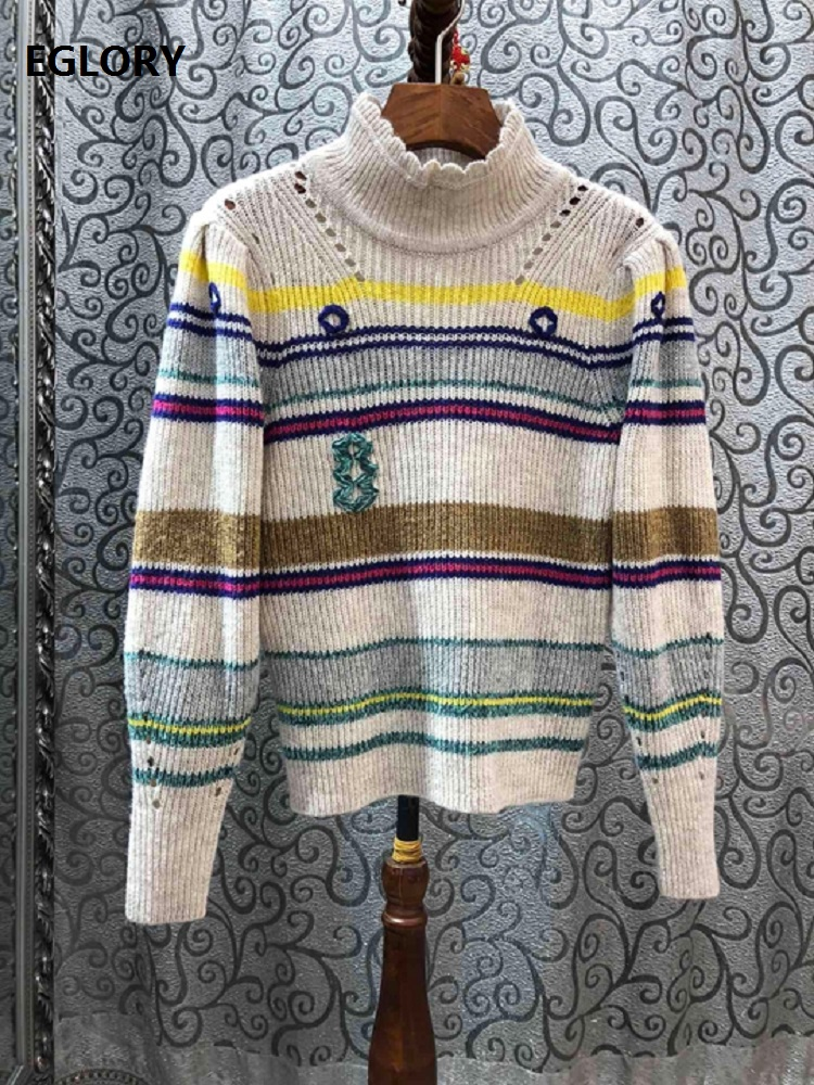 High Quality Sweaters 2020 Spring Fashion Jumpers Women Striped Patterns Knitting Long Sleeve Casual Wool Pullovers Female Tops
