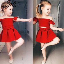 ZAFILLE 2020 Summer New 2Pcs Baby Girls Clothes Off Shoulder Top+Skirt Outfits Set Red Girls Clothing Toddler Kids Red Clothes zafille girls clothing 2pcs lace top leopard skirt baby girl clothes long sleeve toddler outfits sets kids clothes baby clothing