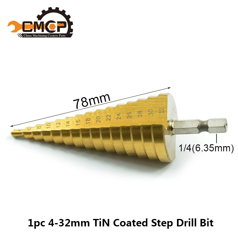 1pc hss aço 4-32mm passo broca broca hex haste reta sulco pagode broca tianium revestido passo núcleo broca madeira/metal buraco cortador