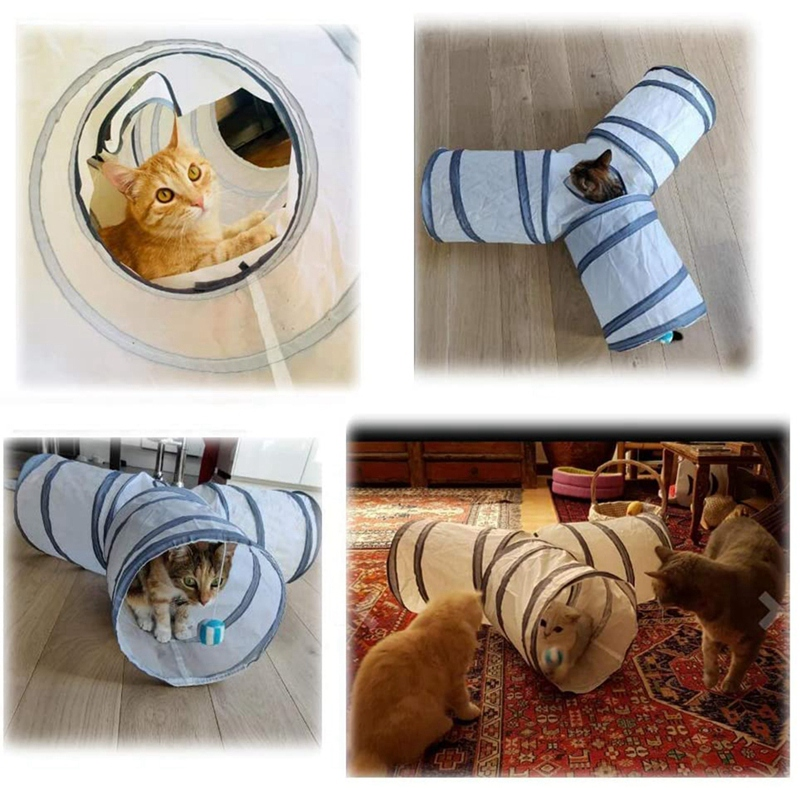 3 Way Cat Play Tunnel and Cat Collapsible Kitten Indoor Outdoor Toys-Collapsible Pet Tunnels- for Small Pet